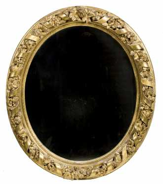 Oval Gilded Ribbon Border Mirror