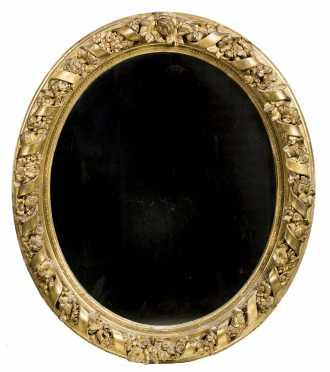 Oval Gilded Ribbon Border Mirror