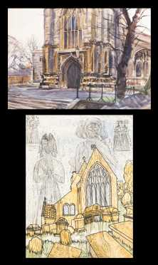 Two Architectural Watercolor Paintings