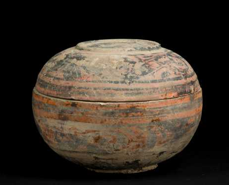 Chinese Han Dynasty Lidded Bowl