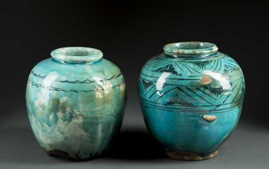 Two Blue Glaze Islamic Jars