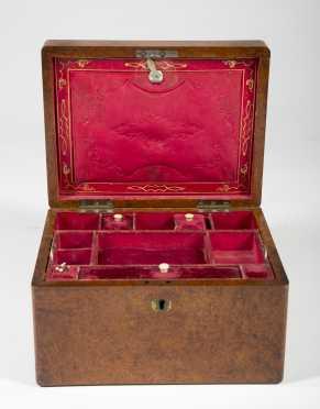 English Burlwood Valuables Box