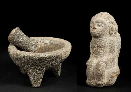 Pre-1500 Mexican Stone Mortar and Pestle and Seated Figure