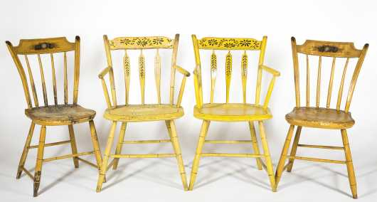 Set of Four Yellow Thumb-back Windsor Chairs