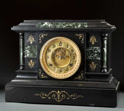 Brass and Marble Mantle Clock