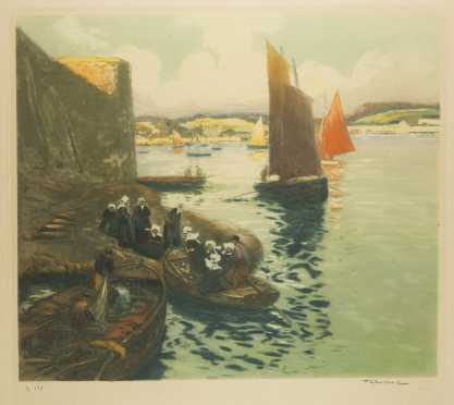 Print of Nuns Embarking on a Sea Journey