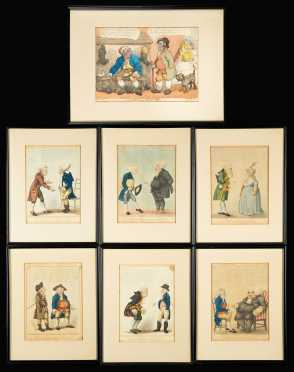 "Six ""Symptoms of the Shop"" and "" Business & Pleasure"", hand colored English engravings"