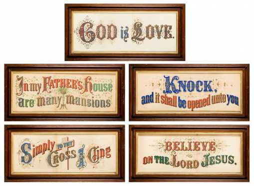 Five Lithographs with Religious Sayings