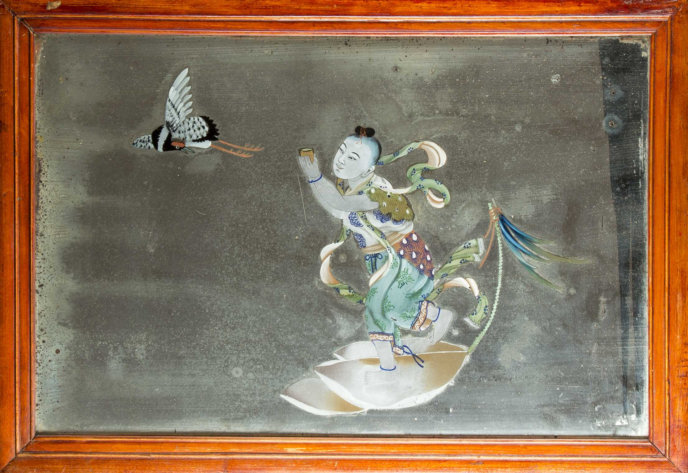 Chinese Reverse Painting On Glass Mirror