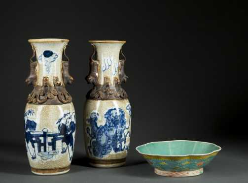 Two Chinese Vases and Bowl