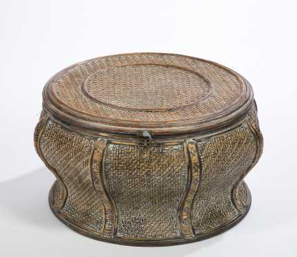 Chinese Round Rattan Foot Stool