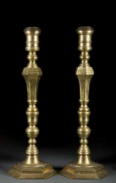 Hexagonal Form Brass Candlesticks