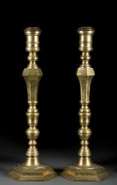 Hexagonal Form Brass Candlesticks