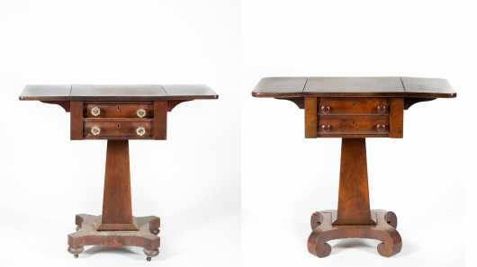 Two Empire Mahogany Drop Leaf Stands