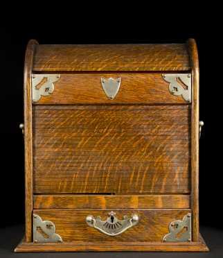 English Oak Toll Top Desk Box