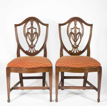 Pair of Mahogany Hepplewhite Side Chairs