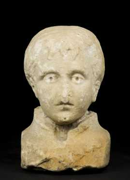 Roman Marble Head of a Young Boy