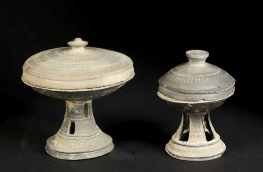 Two Silla Dynasty covered Compotes