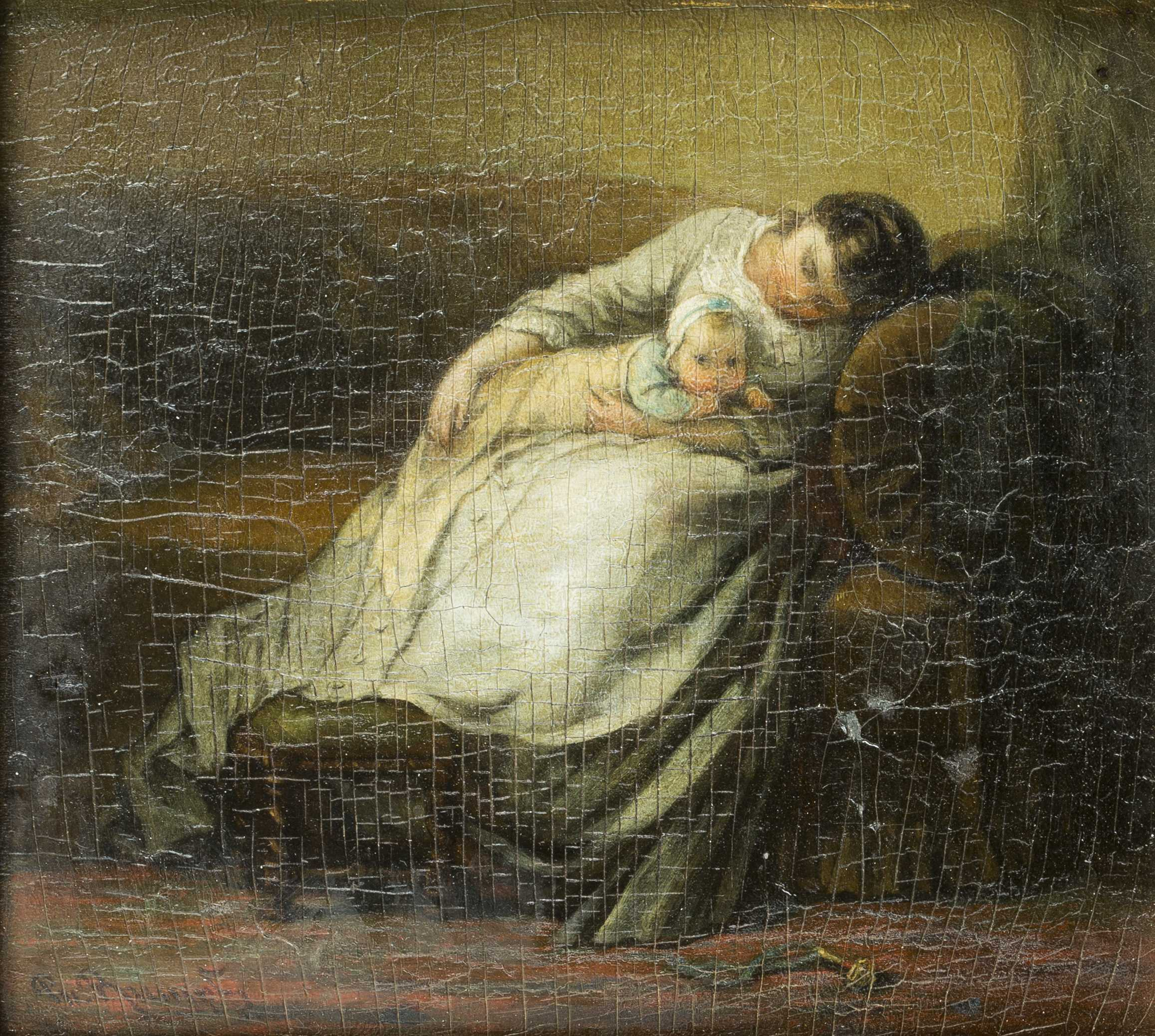 Continental 19thC Children Painting, Oil on board
