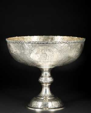 A very Fine and rare silver Jewish Passover bowl