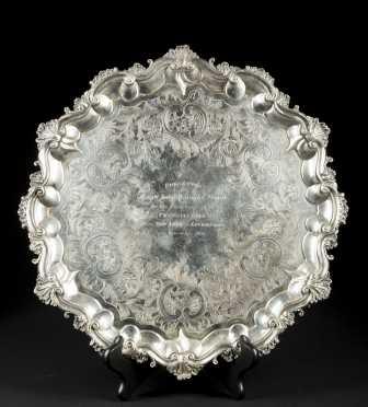 """1836 English Silver Presentation Tray--Captain of """"The Pennsylvania"""" before wreck"""