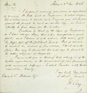 CLAY, Henry (1777-1852), American Statesman, Autograph letter signed