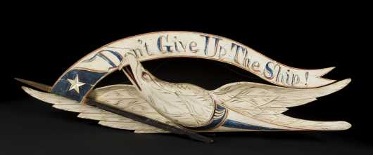 """John Haley Bellamy (1836-1914) American, """"Dont Give Up The Ship"""" Eagle Banner"""