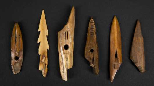 A group of six fossilized Inuit points