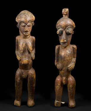 A Fine and rare pair of Kuba-Kete initiation figures