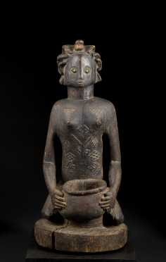 An Exceptional Luba or Zela Bowl bearer figure