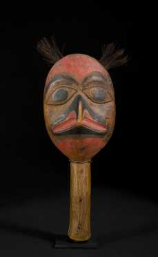 A Superb 19th C. Tlingit Eagle-head Shaman's Rattle