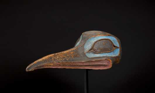 A rare and beautiful Tlingit Raven mask