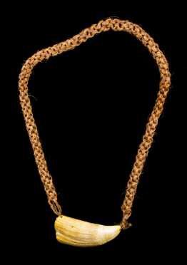 A fine Fijian Whale's tooth necklace; Tambua