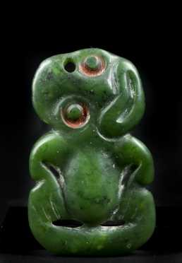 A Fine and well carved Maori Nephrite Tiki