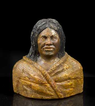 A Large and rare Maori kauri gum female bust