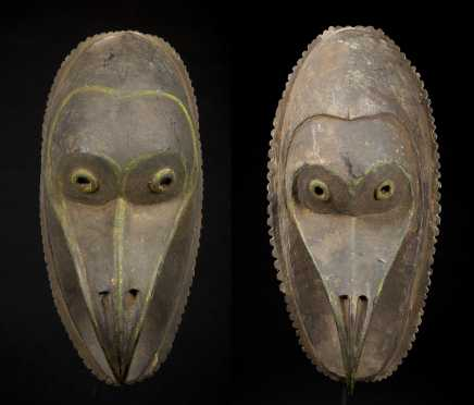 A pair of Sepik Bird masks