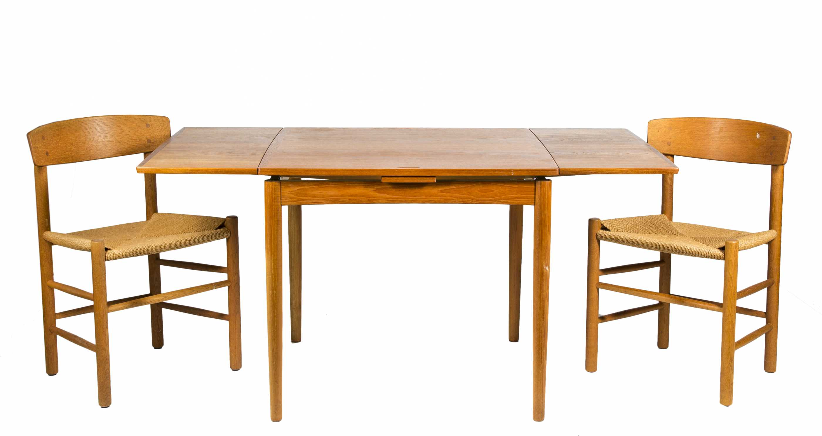 Danish Modern Reverse Top Game Table And Four Chairs
