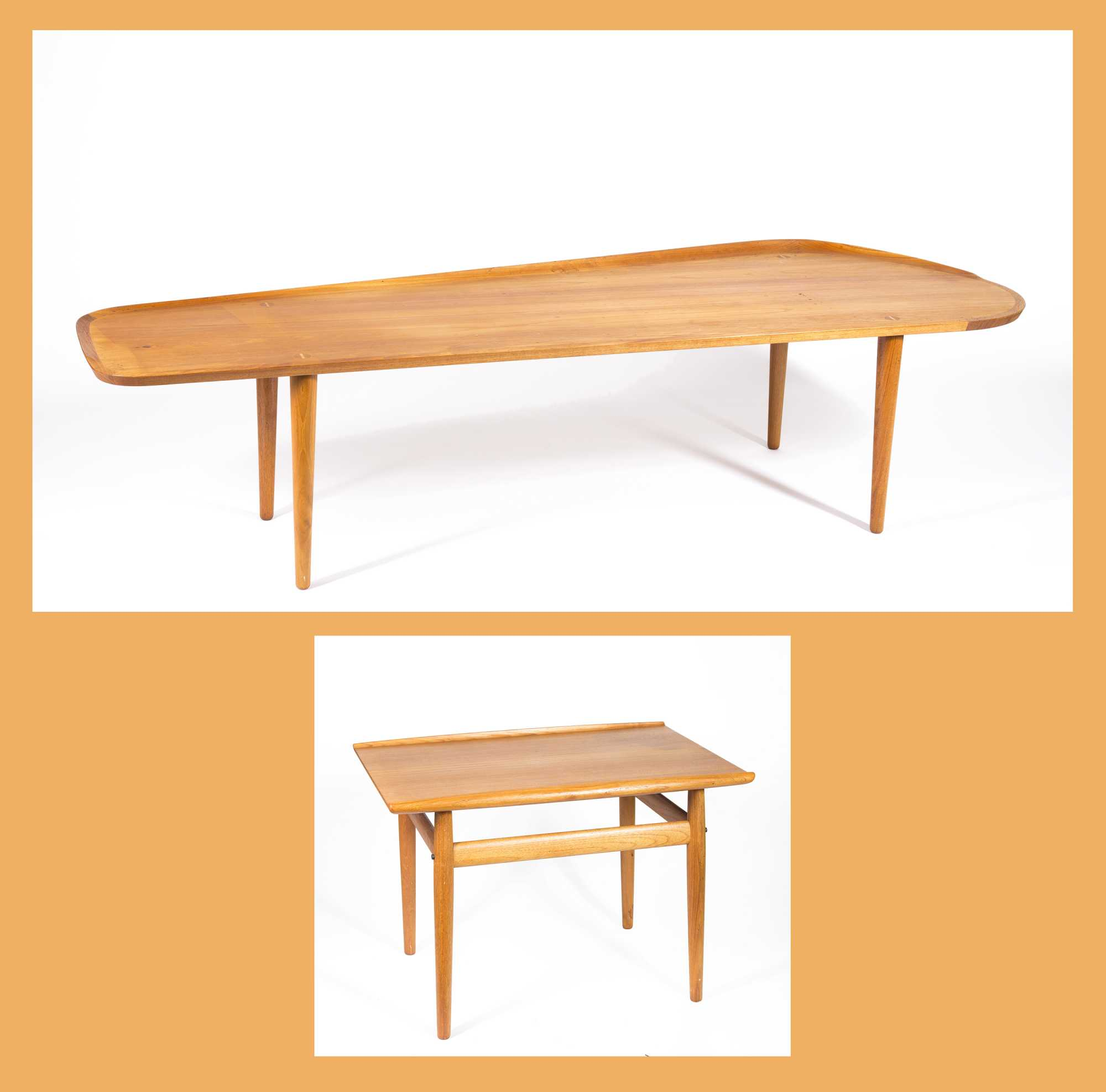 Two danish modern teak wood coffee tables Modern teak coffee table