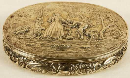 Silver Oval Repousse Valuables Box