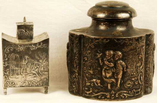 Two Late 18th century Continental Silver Tea Caddies