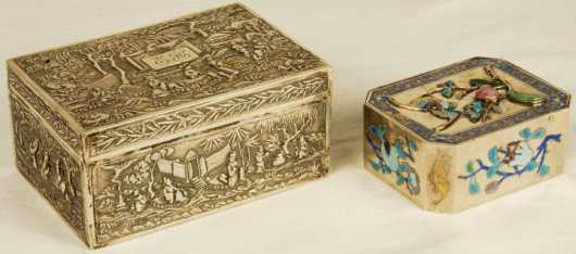 Two Oriental Silver Boxes