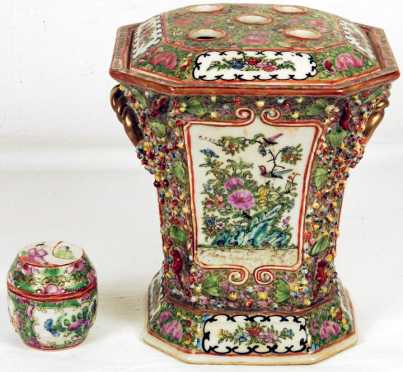 Rose Medallion Bough Pot and Box