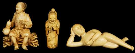 Lot of Three Ivory Oriental Figures