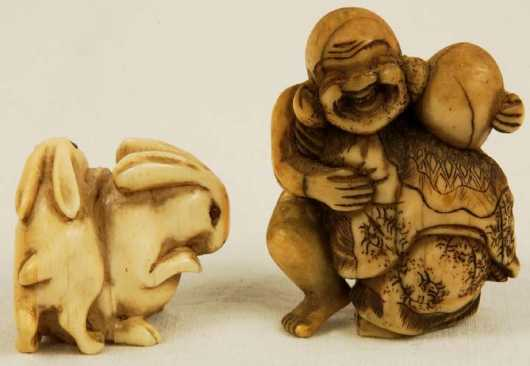 Lot Of Two Ivory Katabori Netsuke