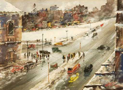 John Chetcuti, watercolor on paper of a Boston City street scene