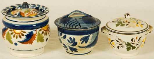 Three Soft Paste Covered Sugar Bowls