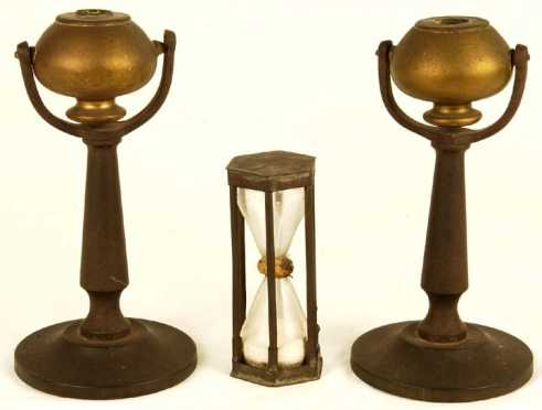 Hour Glass and Pair of Gimbaled Oil Lamps