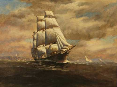 T. Bailey, MA, oil on canvas of a clipper ship