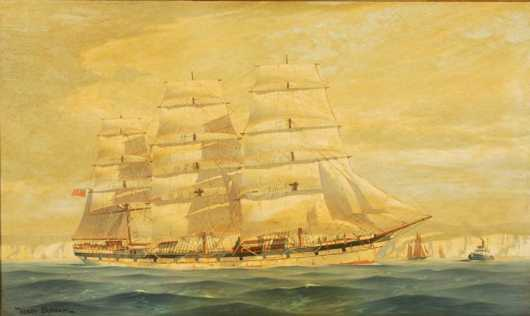 Henry Bernahl, oil on board painting of a clipper ship