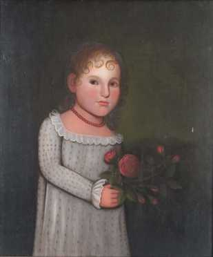 Zedekiah Belknap oil on wooden panel of a young girl